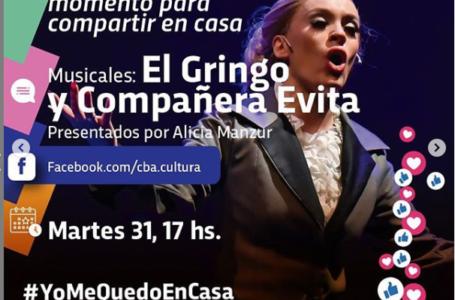 Agenda virtual: Alicia Manzur presenta los musicales «El Gringo» y «Compañera Evita»